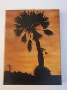 tableau paysages palmier tableau aerographe acrylique : petit palmier