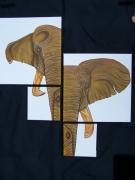 tableau animaux elephant afrique asie aerographe : éléphant d'afrique et d'asie
