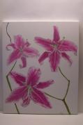 tableau fleurs : tableaux moderne réalisé à l'aérographe (fleurs de lys).