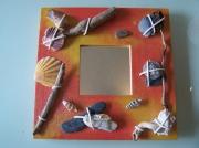 deco design autres tableau miroir coqui bois coquillage acrylique : tableau miroir coquillages et cailloux