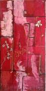 tableau abstrait fleurs contemporain rouge rose : fleurs printannière