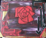tableau fleurs rose moderne contemporain : printemps
