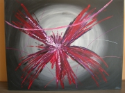 tableau abstrait : hibiscus