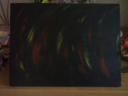 tableau abstrait noir rouge jaune flamme : Enflammée