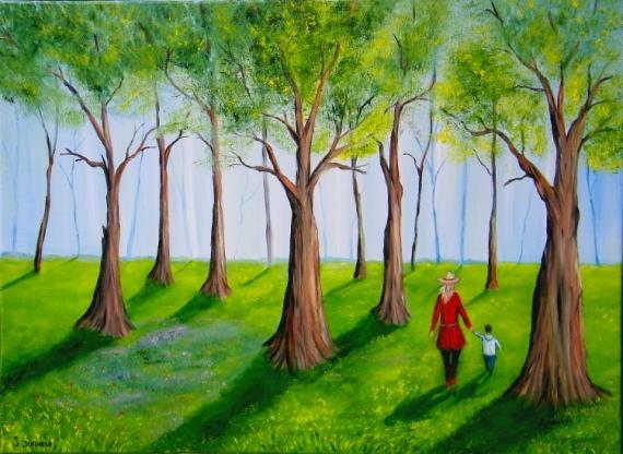 TABLEAU PEINTURE foret de Saint Amand promenade en famille Nord de la France arbres Paysages Peinture a l'huile  - Printemps dans la foret de St Amand