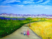 tableau personnages provence champs de lavande ballade nature : evasion à travers les champs