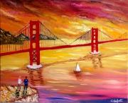 tableau paysages pont golden gate bri san francisco marine amour : Le Pont de San Fransisco sous les nuages soleil couchant