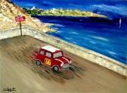 tableau sport automobile retro col rallye monte carlo austin mini cooper paysage marin proven : Victoire de la Mini Cooper au Rallye Monte Carlo 1967