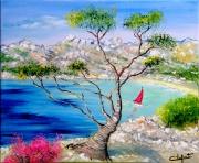 tableau paysages calanque de marseill provence marine pin maritime : calaque de Sormiou