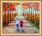 tableau paysages foret d automne balade en couple : lumières d'automne