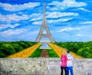 tableau paysages paris tour eiffel romantisme trocadero : Amour, Passion à PARIS