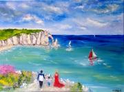 tableau paysages normandie falaise d etret marine voilier : Grandeur d'Etretat