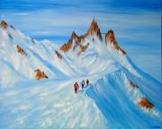 tableau paysages l aiguille du ,m mont blanc les alpes alpinisme : Ascencion vers les sommets