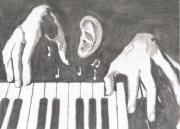 dessin scene de genre dessin scene crayon logo : Le son de piano
