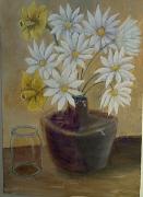 tableau fruits pot marguerites : Nature Morte aux Fleurs