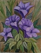 tableau fleurs fleur feuille : Purple