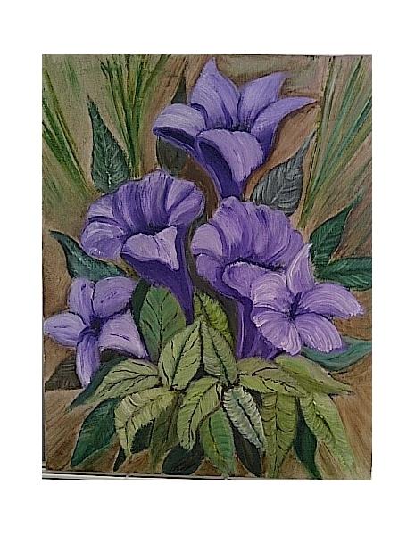 TABLEAU PEINTURE fleur feuille Fleurs Peinture a l'huile  - Purple
