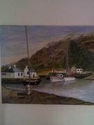tableau paysages port bateaux mer : Calme d'Irlande
