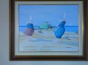 tableau personnages bigoudenne plage 2 cv bretagne : Bigoudennes à la plage