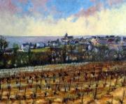 tableau paysages vignoble aurore champagne paysage : Petit matin àFleury La Rivière