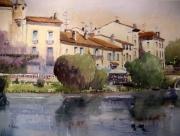 tableau villes paysage quai ville riviere : Quai Bertin à Brantôme