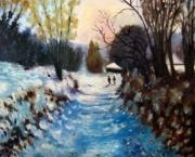 tableau paysages paysage neige chemin brantome : Chemin sous la neige