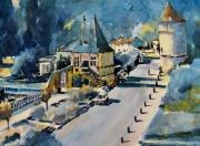 tableau villes brantome village pavillon renaissance pont coude : Brantôme en bleu