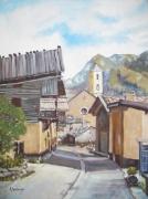 tableau villes village montagne hautes alpes rue : Village des Hautes-Alpes