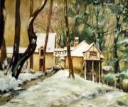 tableau paysages moulin neige paysage : Le Moulin Minette