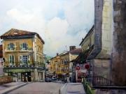 tableau villes paysage ville brantome rue puyjoli : rue puyjoli à brantôme