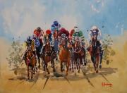 tableau scene de genre course hippique chevaux jockeys : Course hippique