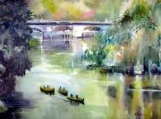 tableau paysages brantome canoes riviere paysage : Canoës à Brantôme