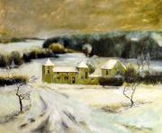 tableau paysages ferme paysage hiver neige : La ferme de la Grâce en hiver .