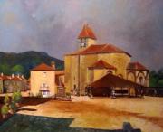 tableau villes place eglise village st jean de cole : La Place de St Jean de Côle