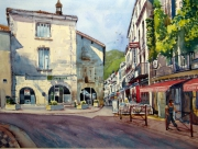 tableau villes brantome place rue paysage : Place St Pierre à Brantôme