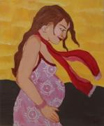 tableau personnages femme enceinte bonheur bebe : La vie en rose