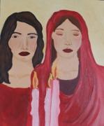 tableau personnages femmes bougie judaisme priere : L'allumage des bougies