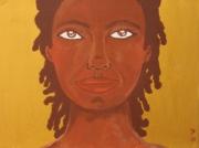 tableau personnages femme africaine dore : Golden Princess