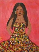 tableau personnages gitane robe femme rouge : La gitane
