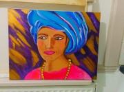 tableau personnages femme turban turquoise rose indien : Femme en couleurs