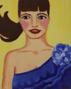 tableau personnages femme bleu sourire fleur : La fille en bleu - The girl in blue