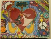 tableau abstrait mariage judaisme amour oiseau : Live and Love