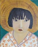 tableau personnages fille asiatique chapeau vert : La petite Vietnamienne - the little Vietnamese girl