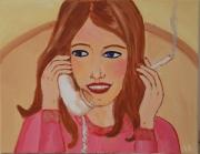 tableau personnages femme telephone cigarette conversation : conversation entre fille - girly calls