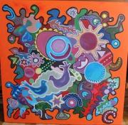 tableau abstrait orange oiseau juif etoile : Liberté en orange