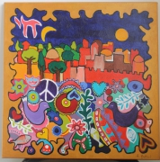 tableau abstrait jerusalem judaisme coeur etoile : Jerusalem