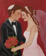 tableau personnages juidaisme mariage amour joie : The wedding day - le jour du mariage