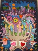 tableau abstrait menorah judaisme jerusalem etoile : lumieres de Jerusalem