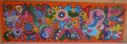 tableau abstrait oiseau arbre judaisme etoile : Liberté en orange 2eme partie