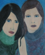 tableau personnages femmes portrait vert brune : Together - Ensemble